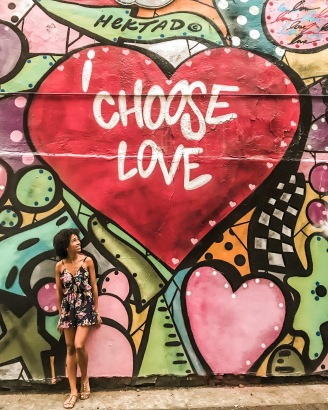 Grafite I choose love no First Street Green Art Park em Nova York